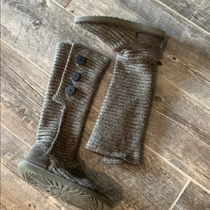 UGG Australia Grey Sheepskin Boots with Buttons
